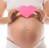 pregnant caucasian woman closeup body solated on white background studio shot heart