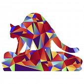 An image of a cat kneading a blanket - polygon style.