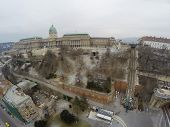 Part of Buda castle district seen from mid-air