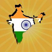 India sunburst map with flag illustration