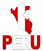 Peru map flag and text illustration
