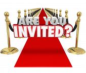 picture of exclusive  - Are You Invited 3d words on a red carpet asking if you - JPG