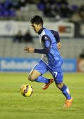 BARCELONA - FEB, 1: Sotan Tanabe of CE Sabadell in action during a Spanish League match against FC Barcelona B at the Nova Creu Alta on February 1, 2015 in Sabadell, Spain