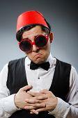 Man wearing traditional turkish hat fez