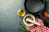Food Background With Cast Iron Skillet,