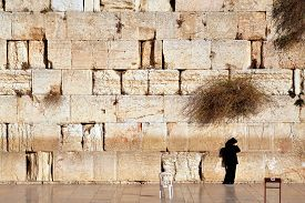 stock photo of israel people  - Jewish man is praying at the western wall in the old city in Jerusalem Israel - JPG