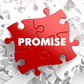 pic of promises  - Promise on Red Puzzle on White Background - JPG