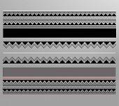 image of maori  - Vector illustration or drawing of a geometric lined maori pattern - JPG