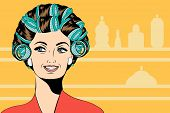 stock photo of hair curlers  - Woman with curlers in their hair vector format - JPG
