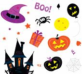 Halloween icons set aislado en blanco