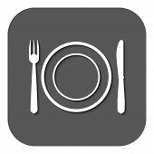 stock photo of knife  - The Plate dish with fork and knife icon - JPG