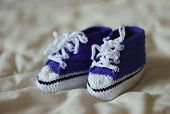 picture of booty  - Knitted with crochet booties for newborn boy  - JPG