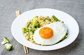 image of millet  - stir fried millet with broccoli green beans and fried egg - JPG