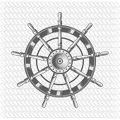 stock photo of rudder  - nautical label vintage rudder icon and design element - JPG