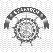 picture of rudder  - nautical label vintage rudder icon and design element - JPG