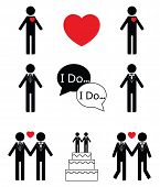 picture of gay wedding  - Gay man wedding icon set in black and white - JPG