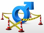 image of libido  - Dangerous man sign surrounded barrier tape - JPG