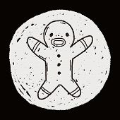 image of ginger man  - Gingerbread Man Doodle - JPG