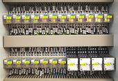 foto of relay  - Relay panel with relays and wires closeup - JPG
