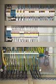 pic of contactor  - Electrical control cubicle with electrical devices closeup - JPG