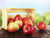 picture of wooden crate  - Spilled red apples near crate on wooden table on nature background - JPG