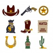 stock photo of bull-riding  - Wild west cowboy flat icons set with gun money bag hat isolated - JPG