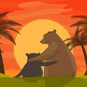 image of special day  - Cute father bear hugging his child on beautiful sun set view background for Happy Father - JPG
