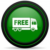 picture of free-trade  - free delivery green icon transport sign