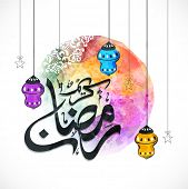 image of ramadan calligraphy  - Arabic Islamic calligraphy of text Ramadan Kareem with colorful hanging lanterns and stars on floral design decorated colorful background for Muslim community festival celebration - JPG