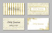 stock photo of white gold  - Set of 4 gold and white business card template or gift cards - JPG