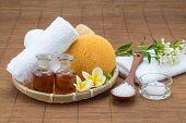picture of bath sponge  - spa bath salt spoon candle towel sponge essential oil and flower for spa health - JPG