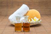 stock photo of bath sponge  - spa bath salt towel sponge essential oil and flower for spa health - JPG