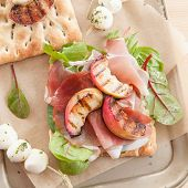 pic of smoked ham  - Sandwich with smoked ham grilled peaches and mozzarella - JPG