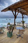stock photo of bordeaux  - Wooden terrace facing beach near Bordeaux France - JPG