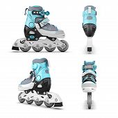 image of inline skating  - Roller skate from different angles isolated on white background - JPG
