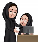 stock photo of teachers  - Realistic 3D Arab Woman Teacher Character Teaching Student Girl in Computer School Wearing Black Abaya for Studies - JPG