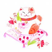 picture of waving hands  - Chinese lucky cat sitting on the red pillow with fuchsia and waving paw - JPG