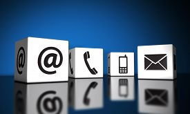picture of blog icon  - Web contact us and Internet connection concept with email mobile phone and at icons and symbol on cubes with reflection and blue background for website blog and on line business - JPG
