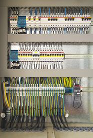 picture of electric station  - Electrical control cubicle with electrical devices closeup - JPG