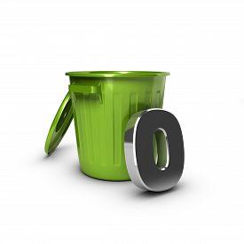 picture of zero  - Number zero against a green bin - JPG
