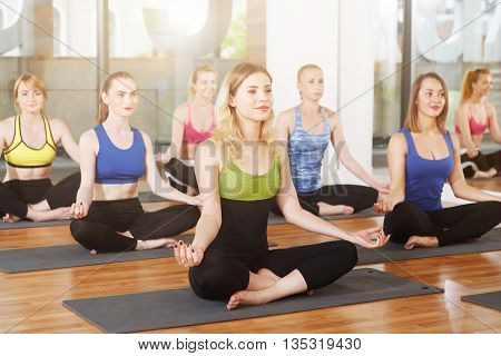 poster of Group of young women in yoga class. Group of people making exercises. Girls do yoga meditation pose, relaxation. Meditation posture. Healthy lifestyle, sport, yoga studio. Fitness club, yoga training