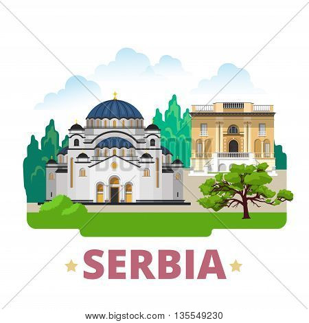 Serbia country design template Flat
