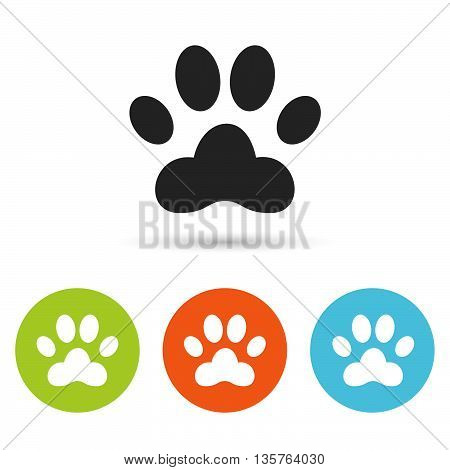 poster of Dog paw icon. Dog paw flat symbol. Dog paw art illustration. Dog paw flat sign. Dog paw graphic icon. Flat icons in circles. Round buttons for web.