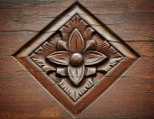picture of woodcarving  - floral woodcarving background - JPG