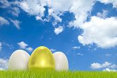 Two white and one golden egg in front of a cloudy sky with COPYSPACE