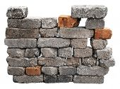 brick wall isolated with clipping path