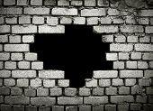 large hole on brick wall
