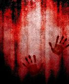 stock photo of bloody  - bloody hand print on wall - JPG