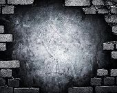 grunge brick wall with hole