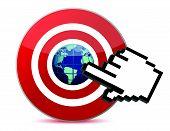 mano cursor hace clic en el mundo de SEM marketing del motor de búsqueda